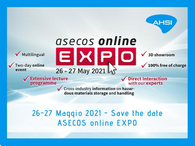 Asecos online expo 2021 AHSI media partner stoccaggio gestione materiali pericolosi